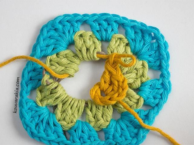 first corner working yarn