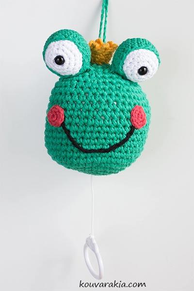 crochet frog musical mobile