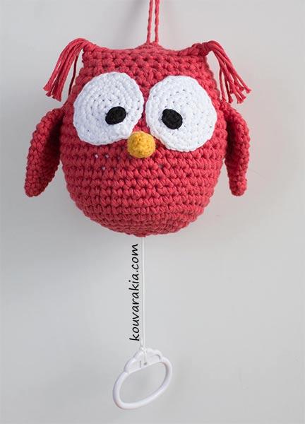 crochet owl musical mobile