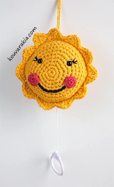 crochet sun musical mobile